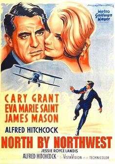 """""""North by Northwest """" (1959) Alfred Hitchcock, USA.  A hapless New York advertising executive is mistaken for a government agent by a group of foreign spies, and is pursued across the country while he looks for a way to survive."""
