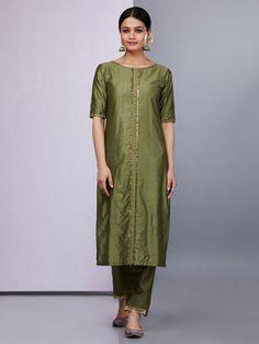 Olive Green Silk Kurta with Pants - Set of 2 Silk Kurti Designs, Salwar Designs, Kurta Designs Women, Kurti Designs Party Wear, Blouse Designs, Trendy Dresses, Short Dresses, Fashion Dresses, Dress Long