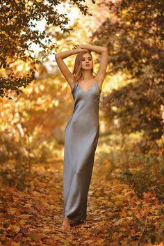 Silk Dress Silk Slip Dress Long Silk Slip dress Midi long natural silk Grey dresses than straps Silk pajamas Silk wear silk clothing Gown Silk Satin Dress, Silky Dress, Silk Slip, Satin Dresses, Silk Chemise, Plus Dresses, Dressy Dresses, Long Bridesmaid Dresses, Nice Dresses