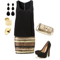 """Gold glitter skirt"" by hayleyhodges on Polyvore"