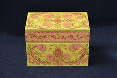 1970's Avon Recipe Box, Kitschy Tin Recipe Box, Bright Yellow and Orange Vintage Recipe Holder, Fits 5 x 3 Recipe Cards by FabulousVintageStore on Etsy