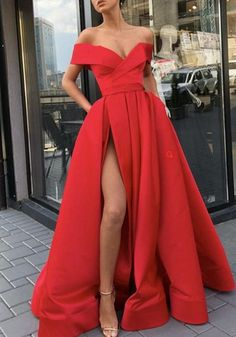 Princess Off The Shoulder Red Prom Dress A Line Formal Evening Gown With  High Slit 40ea69922257