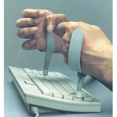 This device was developed by an OT who works with veterans with SCI. It assists SCI clients in typing. Fits securely and offers an Unobstructed view of the Key Board Worn on the Ulnar side of the hand. Padding Protects the dorsal hand surface. Assistive Technology, Medical Technology, Technology Careers, Technology Articles, Technology Innovations, Medical Coding, Energy Technology, Technology Gadgets, Adaptive Equipment