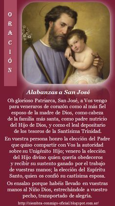 Alabanzas a San José Catholic Prayers Daily, Spanish Prayers, Catholic Religion, Faith In Humanity Restored, Patron Saints, St Joseph, Blessed Mother, Mother Mary, Novenas
