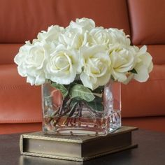 White Real Touch Roses Square Glass Vase