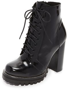 a8333ea87bb0 Jeffrey Campbell Legion Lace Up High Heel Booties Black Block Heel Boots