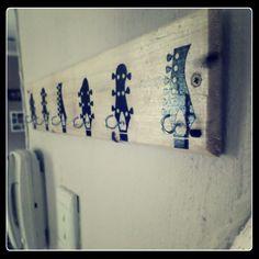 Guitar head key holder with round hooks Key Holders, Hooks, Guitar, Key Rings, Key Fobs, Wall Hooks, Guitars, Crocheting