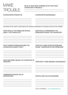 Making Trouble for Your Character - A handy worksheet to drive your plot.
