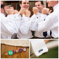 Love these Superhero groomsmen cufflinks! Captain America, Spiderman, Superman, Iron Man, Green Lantern, and Flash. The good ones are all there!