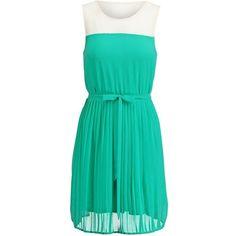 Even&Odd Dress (91 RON) ❤ liked on Polyvore featuring dresses, green, no sleeve dress, sleeveless short dress, sleeveless print dress, mixed print dress and short sleeve dress