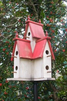 Large Wooden Primitive Victorian Birdhouse RED 2012 388 | eBay