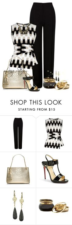 """7/7/15"" by longstem ❤ liked on Polyvore featuring Martin Grant, BCBGMAXAZRIA, Tory Burch, Christian Louboutin and Jolie B. Ray Designs"