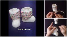 3-6 Aylık arasında olan Bebeklere göre yapılan Boncuklu Beyaz Bebek Patik Şiş ile yapılan Videolu şirin Bebek Patiği Tarifi. Püsküllü Boncuklu Bebek Patiği için ince bir ip tahmini 2,5 numara misin…