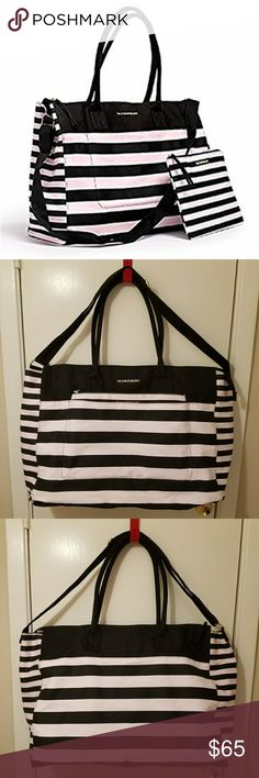 Victoria's Secret Large Oversize Stripe Duffle Bag Item is in excellent NWOT condition. No rips, stains, snags or tears. Great large weekend bag and matching makeup bag in the front pocket. Fits inside carry on dimensions and is great for travelling. Victoria's Secret Bags Travel Bags