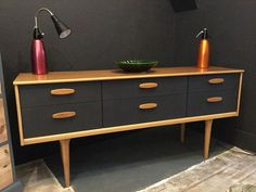Danish style retro sideboard painted in Graphite by Autentico paint. More More