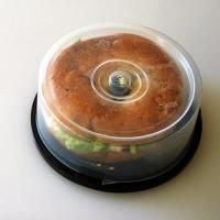 old CD spindle for your bagel-to-go. #brilliant