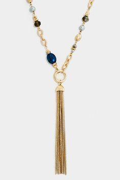 Station Beaded Acrylic Bezel Stone Elongated Tassel Necklace Set