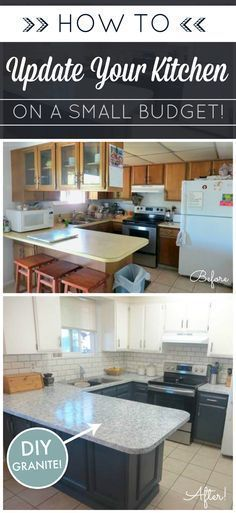 DIY Kitchen Makeover on a Budget. Giani Granite Countertop Paint kits transform existing counters to the look of natural stone! www.gianigranite.com Two-Toned kitchen cabinets and subway tile. #diykitchenremodel/makeover