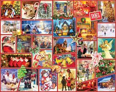 In the 1000 piece jigsaw puzzle, Joy of the World by White Mountain, a colorful and detailed collage of winter time and holiday spirit is depicted. This puzzle is the perfect late night activity to partake in. Christmas Jigsaw Puzzles, Christmas Puzzle, Christmas Collage, Christmas Scenes, Christmas Carol, Cozy Christmas, Beautiful Collage, Old Fashioned Christmas, Cross Paintings