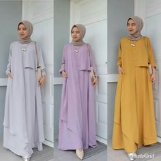 Material : ballotely Size : allsize fit to L Informas. Modest Fashion Hijab, Casual Hijab Outfit, Abaya Fashion, Fashion Dresses, Hijab Evening Dress, Hijab Dress, Hijab Style, Hijab Chic, Muslim Long Dress