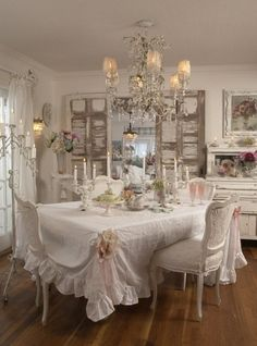 Shabby Dining | I LOVE Shabby Chic: look at the texture added to the white walls with the shutters/doors.