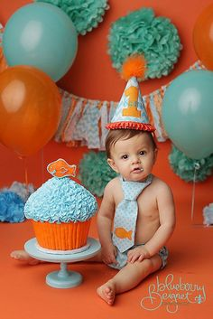 Boys Birthday Party Hat, Diaper Cover and Tie - Perfect for First Birthday, Smash Cake Pics, Photo Prop - Goldfish Aqua Teal Orange