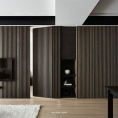 one work design Interior Walls, Living Room Interior, Modern Interior, Home Interior Design, Interior Architecture, Apartment Interior, Invisible Doors, Regal Design, Wall Cladding