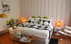 Bedroom With Retro Decor Wallpaper And Wall Poster Lamps Bedding Decorative Ideas Decorations Home