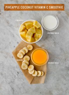 Pineapple Coconut Vitamin C Smoothie - Fresh or frozen pineapple, frozen banana, coconut milk, orange juice (I subbed almond milk and coconut flakes for the coconut milk & an orange for the oj)