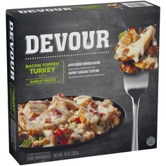 Devour Bacon Topped Frozen Turkey with Garlic Sauce - Single Serve Meals, Single Serving Recipes, Smoked Bacon, Microwave Dinners, Frozen Turkey, Frozen Meals, Garlic Sauce, Roasted Turkey