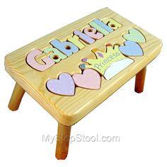 My Step Stool - Princess Puzzle Name Stool, $49.99 (http://www.mystepstool.com/princess-puzzle-name-stool/)