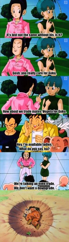 Burn haha bulma always has cared more for goku than chichi I remember in the martial arts tournament against piccolo she was being a bitch the whole time because goku let gohan enter & when it ended chichi ran past goku and went for gohan (even if goku was WAY more badly injured) and bulma was the one to see if goku was ok... lol ugh stupid chichi...
