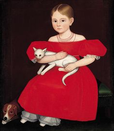 """Ammi Phillips, """"Girl in Red Dress with Cat and Dog"""" (1830-1835), oil on canvas, 30 x 25 inches"""