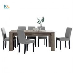 Jedálenská zostava 1+6. Elegantný jedálenský stôl 170x79 cm s delenou doskou pre 8 osôb. Vo farbe tmavý dub spolu so 6 jedálenskými stoličkami. Stoličky sú čalúnené ekokožou v svetlo sivej farbe.