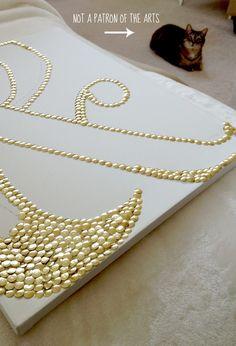Canvas and gold thumbtacks - wall art DIY