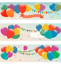 Holiday banners with colorful balloons vector by allegro on VectorStock®