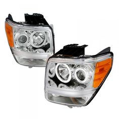 2007 Dodge Nitro Chrome/Clear CCFL Halo Headlights for SUV/Truck/Crossover | Spec-D | (pair) | Fits 2007-2008