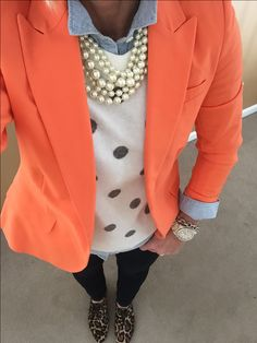 Fashion Over 40: Feeling like Spring.....still dressing like Winter. Vince Camuto Blazer, J Crew Sweater, pearls, oxfords, Old Navy Chambray Shirt Michael Kors watch, David Yurman bracelet