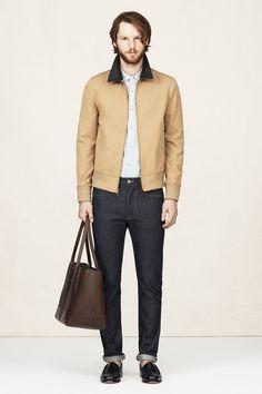 April - Look 6   Contrast Collar Cotton Jacket, Edward Shirt, Barret Denim, Noah Leather Tote, Bass Weegen