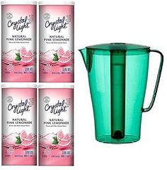 Bundle (5) Items ~ (1) Green Solfint Pitcher with Lid, 68 Oz with Removable Freezer Insert & (4) Containers of Crystal Light (Makes 48 Quarts Total), Pink Lemonade - http://teacoffeestore.com/bundle-5-items-1-green-solfint-pitcher-with-lid-68-oz-with-removable-freezer-insert-4-containers-of-crystal-light-makes-48-quarts-total-pink-lemonade/