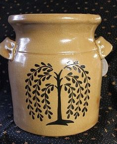 New Primitive Country BLACK WILLOW TREE Tan Pottery Utensil Jar Crock Handles #PdHome
