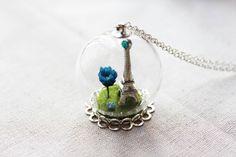 Paris Eiffel Tower Blue Dried Flower on Grassland Silver Colour Glass Ball Necklace.Paris Eiffel Tower Real Flower Glass Globe Necklace. on Etsy, $300.00
