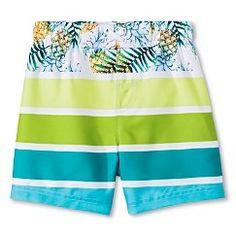 Baby Boys' Stripe With Pineapple Swim Trunk - Multi Colored