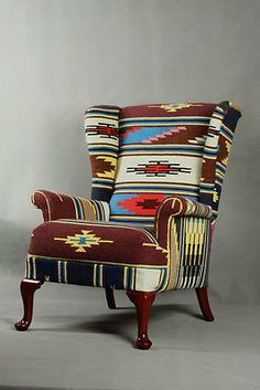 Handwoven Vintage Wool Kilim Wingback Armchair sofa chair patchwork | eBay