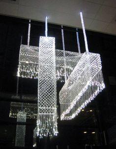Fiberglass bobbin lace light fixtures