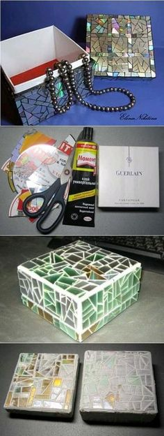 DIY Old CD Mosaic Box. Easy to make and prvide tons of space for your necklace collection! Cd Diy, Cd Mosaic, Mosaic Crafts, Recycled Cds, Recycled Crafts, Old Cd Crafts, Kids Crafts, Shoebox Crafts, Cd Recycling