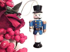 Nutcracker Soldier Christmas Tree Ornament Miniature Blue and