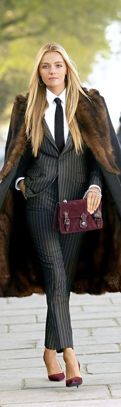 Feel luxurious in menswear inspired clothes just like this look by Ralph Lauren. BUT NO FUR!!!!
