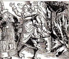 A witch being carried off to Hell by the Devil as a horrified clergyman looks on. The extremely silly Devil has extra faces on his knees.