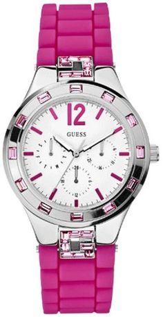 Guess W10615L2 - Reloj analógico de cuarzo para mujer con correa de silicona, color rosa: Amazon.es: Relojes